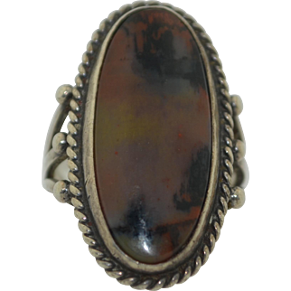 1940's Sterling Silver Petrified Wood Ring
