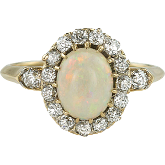 Fiery Edwardian Opal and Diamond Cluster Ring