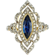 Elegant Edwardian French Sapphire and Diamond Ring