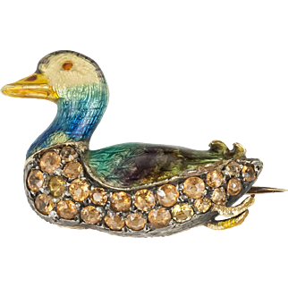 Charming Enamelled Duck with Topaz