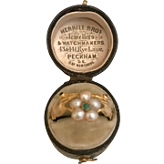 A Charming and Rare Georgian Friendship hands and Pearl Flower Ring with Hair locket back