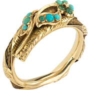 A Charming Forget Me Not Georgian Twig Ring with Hair in 15ct Gold