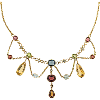 Beautiful Victorian Multi gem Swag Necklace in 18ct (tested) Yellow gold