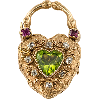 Exquisite Regency Ruby and Peridot Padlock locket