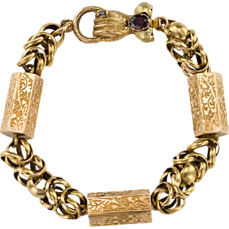 Rare Georgian 18ct Gold Hand and Tubular Link Bracelet