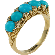 Victorian Turquoise Five Stone Half Carved Hoop Ring