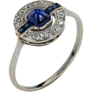 Beautiful Sugarloaf Sapphire Art Deco Ring