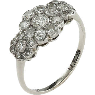 A Beautiful 1920's Diamond Triple Cluster Engagement Ring