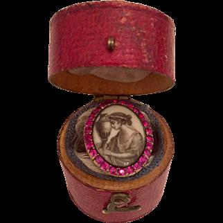 """Rare Ruby Georgian Sepia Mourning Ring """"M. Lauder 1780''"""