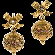 Charming Victorian Ball Earrings