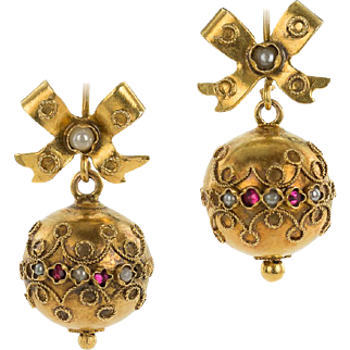 Charming Victorian Ball Earrings