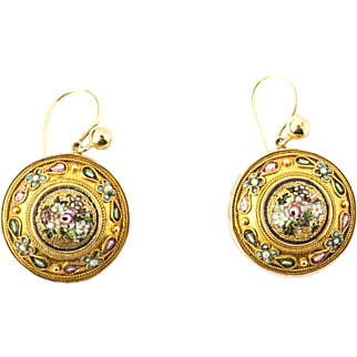 A Fine Pair of Italian Micro-mosaic Earrings