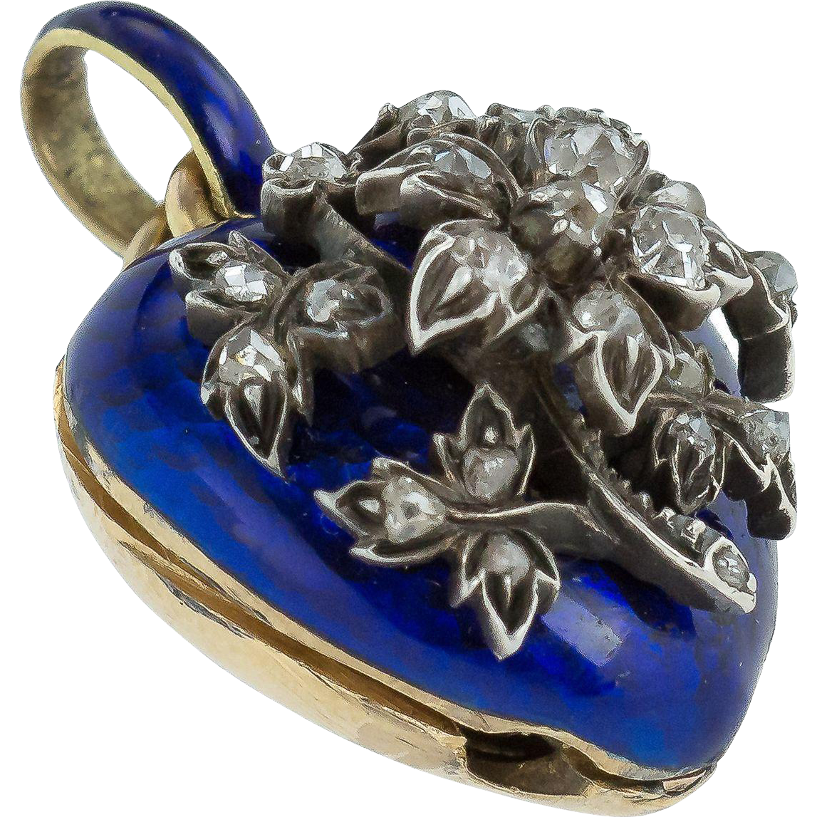 Charming Victorian Royal Blue Enamel And Diamond Heart
