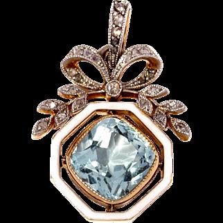 Exquisite Aquamarine , Enamel and Diamond Belle Epoque Pendant