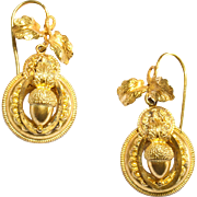 Silver Gilt Victorian Acorn and Leaf Earrings