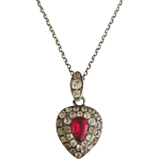 Charming Georgian Silver Paste Heart Locket with Chain