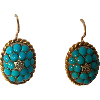Victorian Turquoise and Diamond Oval Shaped Earrings