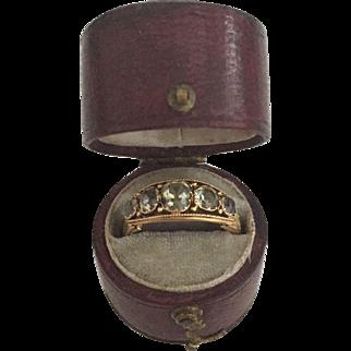A Beautiful Green Chrysoberyl Early Victorian Ring Ca1840