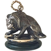 Unusual and Rare Silver Lion and Jasper seal with snake