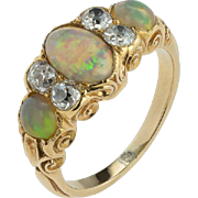 A Beautiful, Colourful, Harlequin Opal and DIamond VIctorian RIng