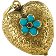 Keep Me in Your heart and Forget Me Not - Turquoise and 15ct Gold Victorian Locket