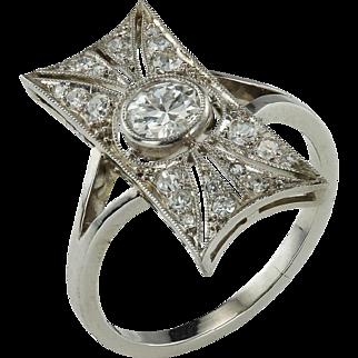 Stylish Art Deco Diamond and Platinum Ring