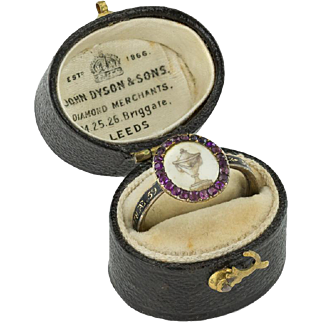 A Rare Amethyst and Enamel Georgian Sepia ring in box