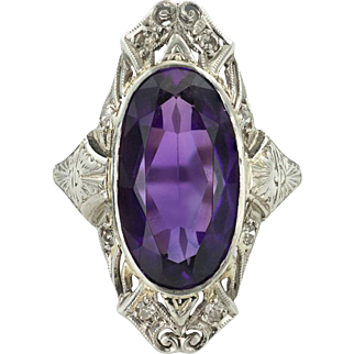 Stunning Amethyst, Diamond and Platinum Art Deco Ring