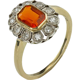 An Art Deco Fiery Fire Opal Ring