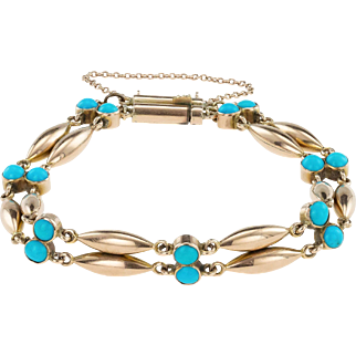 Beautiful Turquoise and 15ct Gold Victorian Bracelet