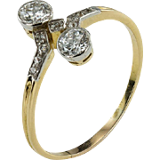 Toi et Moi Double Diamond Art Deco Ring