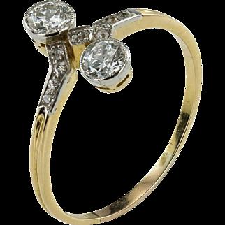Toi et Moi Double Diamond Art Deco Ring