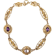 French Amethyst and Moonstone Belle Epoque 18ct Gold Bracelet