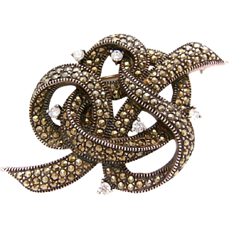 Rare Vintage JUDITH JACK Art Nouveau Inspired Golden Marcasite and Sunray Crystal Sterling Silver RIBBON Brooch