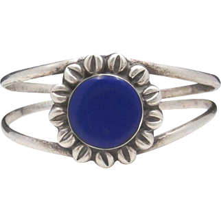 Vintage Taxco Mexico TL-120 Sterling Silver and Lapis Lazuli BLUE CORNFLOWER Cuff Bracelet