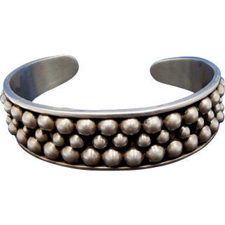 Vintage Handmade Taxco Mexico TH-15 PEBBLES Sterling Silver Beaded Cuff Bracelet