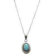 Vintage Navajo ELLA PETER Sterling Silver and Carico Lake Turquoise Pendant Necklace