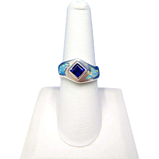 Vintage DAVID FREELAND JR. Sterling Silver with Iolite and Lab Opal Inlay Ring – Size 7½