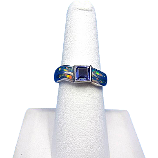 Vintage DAVID FREELAND JR. Sterling Silver with Iolite and Lab Opal Inlay Ring – Size 7.5