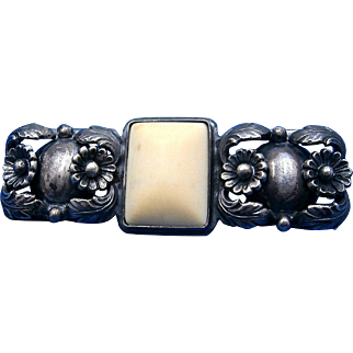 Vintage 1950's Art Nouveau Inspired Niels Erik From (N.E. FROM Denmark) Irish Ulster Marble Sterling Silver Floral Brooch