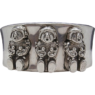 Rare Vintage Southwestern 1990 CAROL FELLEY Sterling Silver STORYTELLER Cuff Bracelet