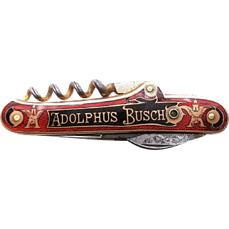 Rare 1900's Antique Stanhope Viewer ADOLPHUS BUSCH Advertising Cloisonne Enameled Bartender's Knife