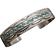 Vintage Navajo WILSON and CAROLYN BEGAY Turquoise Chip Inlay Sterling Silver Cuff Bracelet