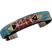 Vintage Zuni NICK and THERESA LUHELA Multi-Stone Cobblestone Inlay Sterling Silver Cuff Bracelet