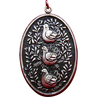 Vintage 1974 International Silver Co. Twelve Days of Christmas THREE FRENCH HENS Sterling Silver Medallion Ornament / Pendant