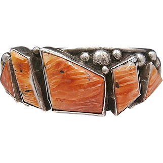 Vintage Navajo E&C Eric Fierro Sterling Silver and Orange Spiny Oyster Cuff Bracelet