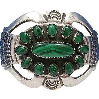 Vintage Navajo James Shay Sterling Silver and Malachite Ketoh Cuff Bracelet