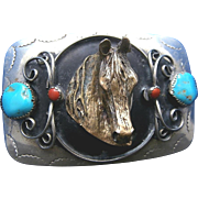 Vintage 1970's German Silver and Brass 3-D Horse Head Belt Buckle with Genuine Turquoise and Coral