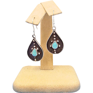 Vintage 1940s Native American Sterling Silver with Flush Inlaid Turquoise Teardrop Dangle Earrings