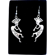 Handcrafted Native American Sterling Silver Overlay Kokopelli Dangle Earrings